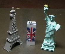 Eiffel Tower, Union Jack and the Statue of Liberty memory sticks